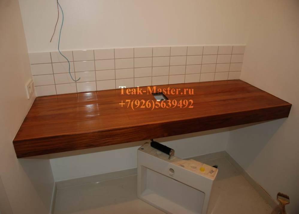 Деревянная столешница в ванную комнату 193